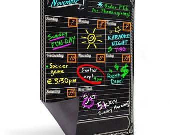 Bigtime Magnetic Refrigerator Calendar Dry Erase Black Flexible Magnet Board - Chalkboard Style 12x16 Weekly