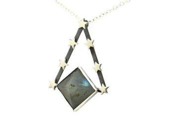 Labradorite Flashy Pyramid Prism & Star Pendulum Pendant Amulet Talisman Necklace