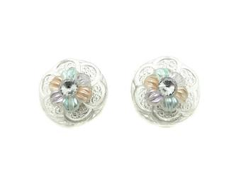 1960s Vintage Earrings | Pastel Earrings | Retro Clips | Flower Earrings | Flower Clip on Earrings | Round Earrings | Clear Plastic Earrings