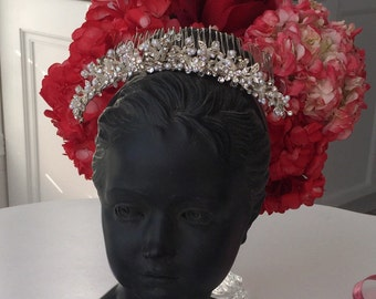 TIARA HAIR PIECE /Wedding Costume Piece/ Veil Hair Piece