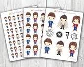 Supernatural Stickers, Kawaii, Cute Stickers, Planner Stickers, Pretty,  Erin Condren, ECLP, Sam, Dean, Castiel, Winchester