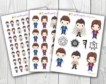 Supernatural Stickers, Kawaii, Cute Stickers, Planner Stickers, Pretty,  Erin Condren, ECLP, Sam, Dean, Castiel, Winchester