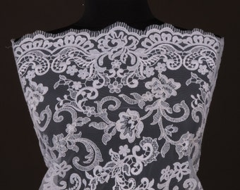 Lace Fabric with Cord and Cotton Embroidery. By Yard