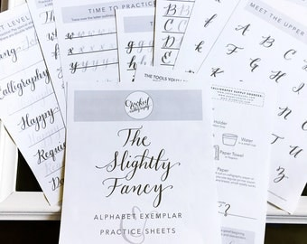 Modern Calligraphy Worksheet - PRINTABLE DOWNLOAD - Slightly Fancy Alphabet Exemplar, Calligraphy Practice Sheets, Letter Formation
