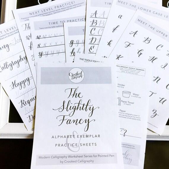 Modern Calligraphy Worksheet PRINTABLE DOWNLOAD Slightly – Calligraphy Worksheet