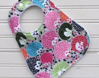 Bib - Baby Bib - Colorful Hedge Hogs - Bib - Shower Gift for Baby Girl