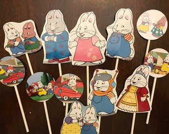 Max and Ruby cupcake toppers. 12 Max and Ruby cake toppers. Party supplies