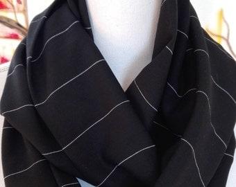 Black Pinstripe Cotton Infinity Scarf, circle  scarf, women's scarf