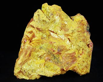 Bright Golden Yellow Red Orpiment Crystal Mineral Specimen From Russia 7.1 Ounces 2.8 Inches Long