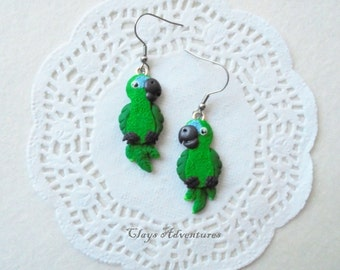 Parrot funny earrings blue fronted amazon handmade from polymer clay.
