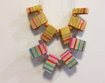 Orange Red Yellow Pencil Necklace