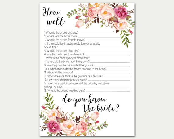 How Well Do You Know The Bride Bridal Shower Game Bridal
