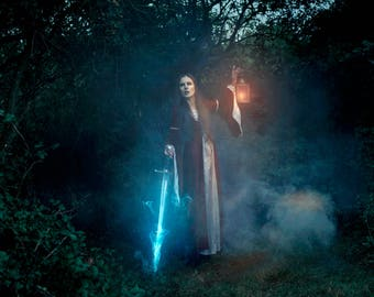 Niamh in the Forest, Sword, Lantern, Fantasy, Fine Art Print, Wall Art, Conceptual