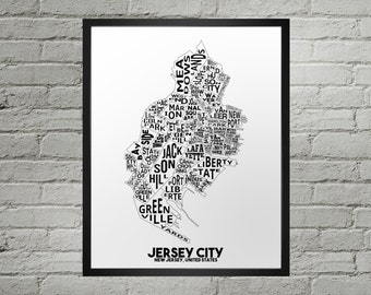 Jersey City New Jersey Neighborhood Typography City Map Print