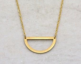 Half Circle Necklace, Brushed 24k Gold Plated Stainless Steel, Dainty Minimal Geometric Layering Layered Long Necklaces