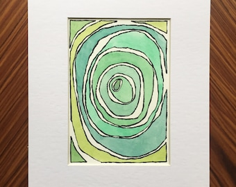 Abstract watercolor, abstract painting, watercolor painting, small painting, home decor, abstract art, small art, green abstract, original