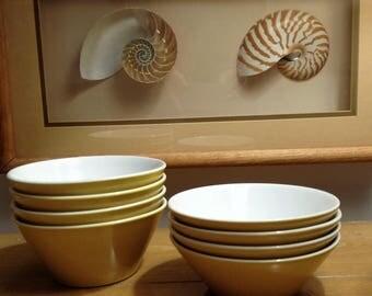 Retro Vintage (Set of 8) Syralite Syracuse China Yellow & White Bowls