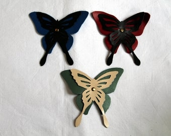 Butterfly leather hair grip, barrette, hair slide, hair clip, hair accessory, hairdo, fantasy, red, blue, green, brown, beige