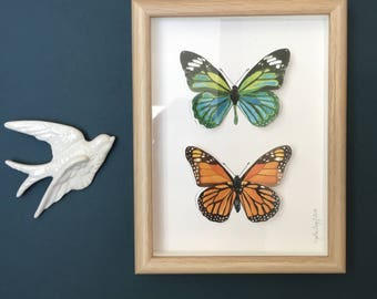Painted butterflies and cuts + framework