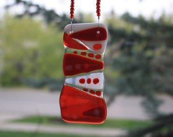Red Fused Glass Suncatcher