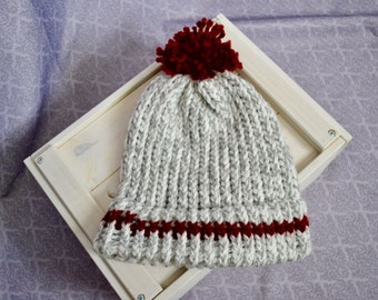 Hand knitted white-grey & red hat with wool pompon, beautiful fashion chunky unisex hat - winter and spring, gift for him or her