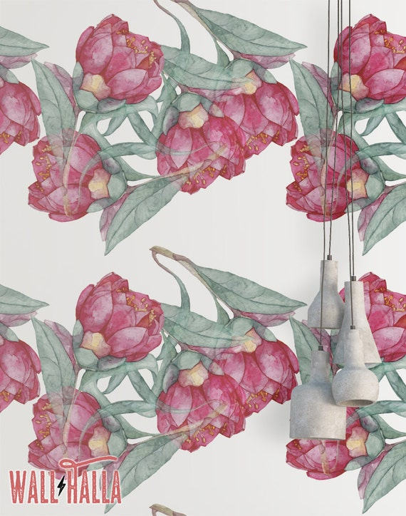 Watercolor Flowers Wallpaper Removable Wallpaper Red Roses