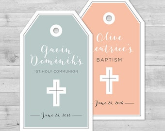 Communion Favor Tags Communion Favors Communion Tags First Communion Favor Tags Baptism Favor Tags Christening Favors Baptism Thank You Tags
