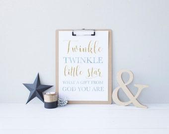 Nursery Baby Printable Wall Art - Twinkle Little Star - 8x10