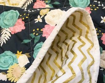 Navy Floral Baby Quilt, Metallic Gold Chevron, Modern Baby Quilt, Boho Baby Quilt, Baby Girl Quilt, Baby Quilt For Sale, Baby Quilt Handmade