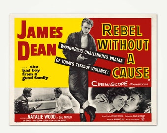 Rebel Without A Cause Vintage Mid Century British Lobby Card Print - James Dean Rebel Without A Cause Print