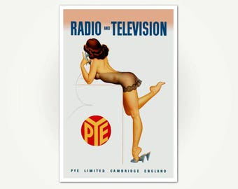 Pye Radio And Television Advertising Poster Print - Commercial Pin-Up Poster Art - Vintage Mid Century Hi-Fi Advertisement