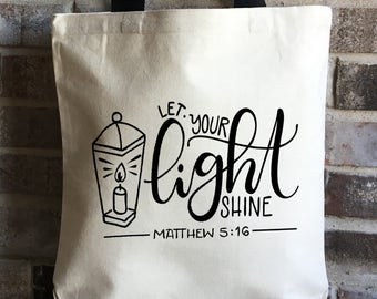 Bible bag my redeemer lives bible tote bag easter gift let your light shine bible verse tote bag mothers day gift christian gift negle Image collections