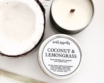 Coconut & Lemongrass Natural Soy Wax Tin Candle with Wooden Wick