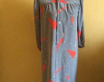 1970/80's Novelty Print Smock Dress