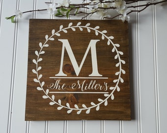 Family Name Sign - Custom Initial Sign - Custom Name Sign - Monogram Sign - Gallery Wall Sign - Family Letter Sign - Rustic Monogram Sign