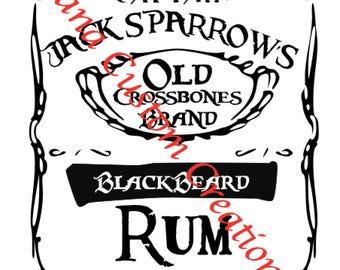 Jack Sparrow Rum iron on shirt