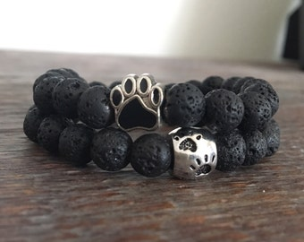 Lava Bead & Paw Bracelet, essential oil jewelry, diffuser jewelry, Proceeds go to dog rescue support!