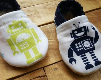 Robot, blue, green, grey, Moccasins, baby crib shoes, soft sole