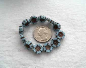 12 mm Pale Blue and Bronze Czech Glass Flower Beads (1758)
