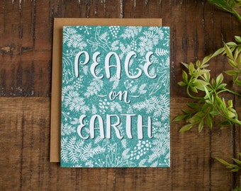 Christmas Card, Peace on Earth, Hand Illustrated Card, Christmas Greeting Card, Holiday Greeting Card