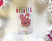 Planner clip - pink glitter bunny