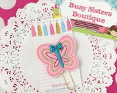 Planner clip - pink butterfly