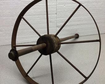 "Rusty Metal Wagon Cart Wheel with Spokes Wood Center 14"" Diameter Art Assemblage Sculpture"