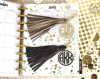 Large Leather Monogram Keychain Tassel, Personalized Key Chain, Initial Keychain, Key Fob