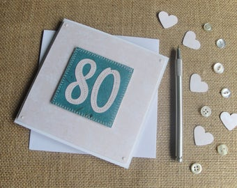 Stitched Number Birthday, Handmade Birthday Card, Number Birthday Card, Milestone Birthday, Wedding Anniversary Card, 21st, 30th, 40th, 50th