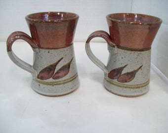 Set of Two Leaf Design Pottery Stoneware Coffee Mugs