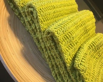 Handmade Green Crocheted Scarf, Scarf, Extra Long Infinity Scarf, Lime Green Scarf, Infinity Scarf