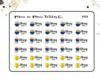 1121~~Library Day Books Reading Planner Stickers.