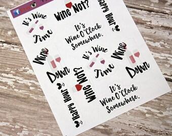 Planner Stickers - Wine Lover Stickers - Reminder Stickers - Functional Stickers - Snarky Adult stickers - Fits Erin Condren - Happy Planner