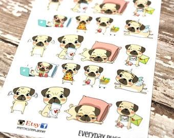 Pug Stickers - Every Day Pug Planner Stickers - Character Stickers - Pizza pug- Movie Night Pug - Angry Pug - Shopping Pug - Unicorn Pug